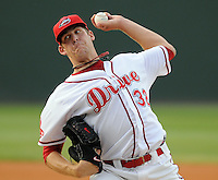 June 11, 2009: LHP Nick Hagadone (32) of the Greenville Drive, No. 3 prospect of the Boston Red Sox, in a game against the Asheville Tourists at Fluor Field at the West End in Greenville, S.C. Photo by: Tom Priddy/Four Seam Images