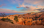 Bryce Canyon National Park, UT: Sunset clouds over the Bryce Canyon Ampitheater from Sunset Point