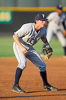 Princeton Rays third baseman Carter Burgess (9) on defense against the Burlington Royals at Burlington Athletic Park on July 11, 2014 in Burlington, North Carolina.  The Rays defeated the Royals 5-3.  (Brian Westerholt/Four Seam Images)