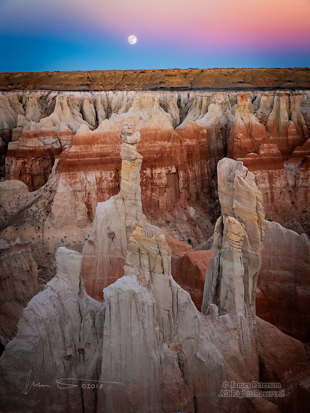 Moonrise over Coal Mine Canyon, Arizona ©2018 James D Peterson.  This beautiful spot is on the Navajo reservation of northern Arizona, south of Tuba City.  Its name reflects the seams of coal (one of which is visible just below the rim) that have been mined in the past, but it also has layers of red and white sandstone that are eroded into a dazzling array of spires and hollows.