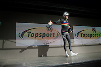 stage winner in his very last TT as World Champion: Sir Bradley Wiggins (GBR/Sky)<br /> with his typical flair on the podium<br /> <br /> 3 Days of De Panne 2015<br /> stage 3b: De Panne-De Panne TT
