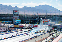 Nov 1, 2020; Las Vegas, Nevada, USA; Overall view as NHRA top fuel driver Doug Kalitta does a burnout during the NHRA Finals at The Strip at Las Vegas Motor Speedway. Mandatory Credit: Mark J. Rebilas-USA TODAY Sports