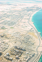 Abu Dhabi, UAE, Begins its Modern Development.  Aerial View photographed March 1972.