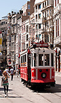 Nostalgic Tram 01 - The Nostalgic Tram, an original streetcar built in the early 20th-century, running between Tunel and Taksim in Istiklal Caddesi, Beyoglu, Istanbul, Turkey
