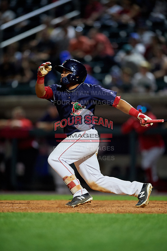 Lowell Spinners third baseman Jonathan Ortega (29) hits a single during a game against the Vermont Lake Monsters on August 25, 2018 at Edward A. LeLacheur Park in Lowell, Massachusetts.  Vermont defeated Lowell 4-3.  (Mike Janes/Four Seam Images)