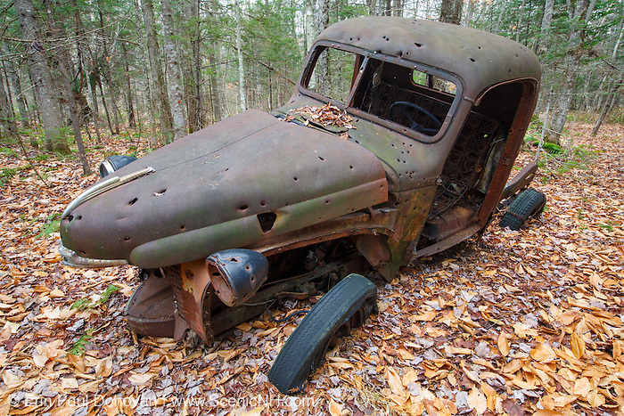 Abandoned 1940s rusted International Harvester pickup with bullet holes in forest near Elbow Pond in Woodstock, New Hampshire USA.