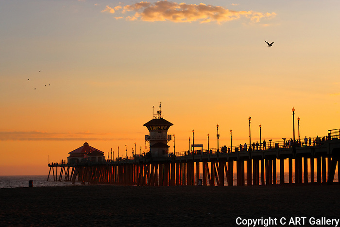 Huntington Beach pier at sunset, southside view.