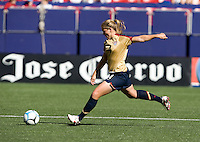 Cat Whitehill stretches to boot the ball. USA defeated Brazil 2-0 at Giants Stadium on Sunday, June 23, 2007.