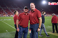 LOS ANGELES, CA - SEPTEMBER 11: Honorary Captains Jimmy Klein and Adam Keefe in the final minutes of the fourth quarter during a game between University of Southern California and Stanford Football at Los Angeles Memorial Coliseum on September 11, 2021 in Los Angeles, California.