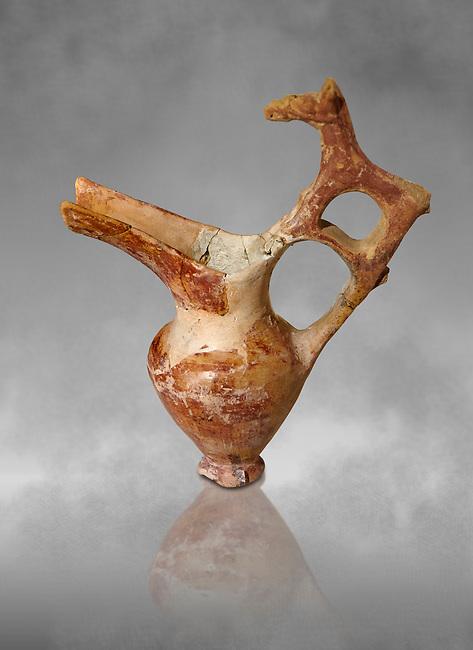 Bronze Age Anatolian terra cotta spouted pitcher with animal shaped handle - 19th to 17th century BC - Kültepe Kanesh - Museum of Anatolian Civilisations, Ankara, Turkey.