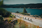 The peloton led by Jumbo-Visma during Stage 3 of La Vuelta d'Espana 2021, running 202.8km from Santo Domingo de Silos to Picon Blanco, Spain. 16th August 2021.    <br /> Picture: Cxcling | Cyclefile<br /> <br /> All photos usage must carry mandatory copyright credit (© Cyclefile | Cxcling)