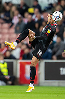 1st October 2021;  Bet365 Stadium, Stoke, Staffordshire, England; EFL Championship football, Stoke City versus West Bromwich Albion; Karlan Grant of West Bromwich Albion kicks the ball