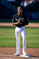 Atlanta Braves Johan Camargo (17) during a Major League Spring Training game against the Boston Red Sox on March 7, 2021 at CoolToday Park in North Port, Florida.  (Mike Janes/Four Seam Images)