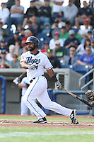 Alexis Olmeda (24) of the Hillsboro Hops bats during a game against the Salem-Keizer Volcanoes at Ron Tonkin Field on July 26, 2015 in Hillsboro, Oregon. Hillsboro defeated Salem-Keizer, 4-3. (Larry Goren/Four Seam Images)