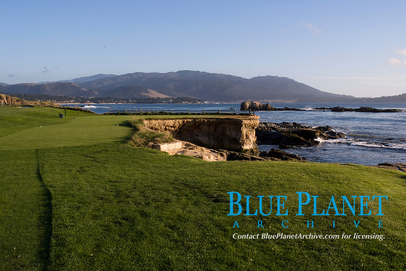 Stillwater Cove, seen from the tee at 18th hole at Pebble Beach Resort golf course, Pebble Beach, Carmel Bay, California, USA, Pacific Ocean
