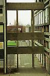 Run down council house tower block. Otterburn Close in Hulme, Manchester, UK 1993.