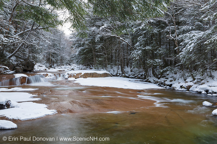 Cascade along the Pemigewasset River near the Flume Visitor Center in Franconia Notch State Park in Lincoln, New Hampshire during the winter season.
