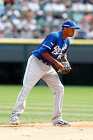 Kansas City Royals Alcides Escobar #2 during a game against the Chicago White Sox at U.S. Cellular Field on August 14, 2011 in Chicago, Illinois.  Chicago defeated Kansas City 6-2.  (Mike Janes/Four Seam Images)