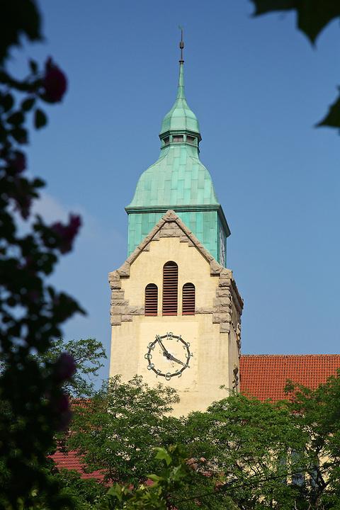 Clock Tower On The Protestant Church, Qingdao (Tsingtao).