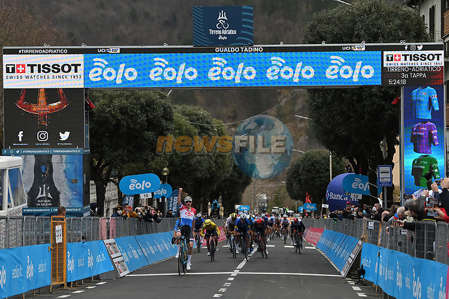 Dutch Champion Mathieu Van Der Poel (NED) Alpecin Fenix easily wins Stage 3 of Tirreno-Adriatico Eolo 2021, running 219km from Monticiano to Gualdo Tadino, Italy. 12th March 2021. <br /> Photo: LaPresse/Gian Mattia D'Alberto | Cyclefile<br /> <br /> All photos usage must carry mandatory copyright credit (© Cyclefile | LaPresse/Gian Mattia D'Alberto)