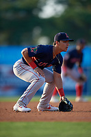 Lowell Spinners third baseman Alex Erro (57) during a NY-Penn League game against the Batavia Muckdogs on July 10, 2019 at Dwyer Stadium in Batavia, New York.  Batavia defeated Lowell 8-6.  (Mike Janes/Four Seam Images)