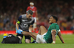 Ireland's Bundee Aki receives treatment <br /> <br /> Photographer Ian Cook/CameraSport<br /> <br /> 2019 Under Armour Summer Series - Wales v Ireland - Saturday 31st August 2019 - Principality Stadium - Cardifff<br /> <br /> World Copyright © 2019 CameraSport. All rights reserved. 43 Linden Ave. Countesthorpe. Leicester. England. LE8 5PG - Tel: +44 (0) 116 277 4147 - admin@camerasport.com - www.camerasport.com