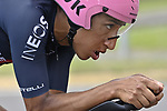 Race leader Egan Bernal (COL) Ineos Grenadiers recons the course before Stage 21 of the 2021 Giro d'Italia, an individual time trial running 30.3km from Senago to Milan, Italy. 30th May 2021.  <br /> Picture: LaPresse/Fabio Ferrari   Cyclefile<br /> <br /> All photos usage must carry mandatory copyright credit (© Cyclefile   LaPresse/Fabio Ferrari)