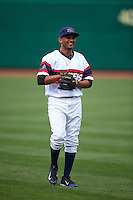 NW Arkansas Naturals second baseman Angel Franco (1) warms up before a game against the San Antonio Missions on May 30, 2015 at Arvest Ballpark in Springdale, Arkansas.  San Antonio defeated NW Arkansas 5-1.  (Mike Janes/Four Seam Images)
