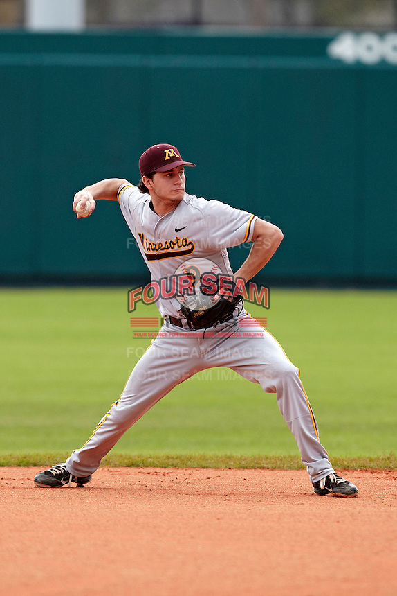 Minnesota Gophers shortstop Michael Handel #9 throws to first during a game against the USF Bulls at the Big Ten/Big East Challenge at Al Lang Stadium on February 19, 2012 in St. Petersburg, Florida.  (Mike Janes/Four Seam Images)