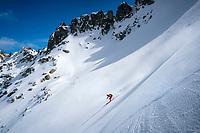 A ski tour through the Pirin Mountains of Bulgaria. Skiing the Kamenitsa Mountain from the Tevno Ezero Hut.