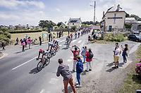 Thomas De Gendt (BEL/Lotto Soudal) leading the peloton.<br /> <br /> Stage 2 from Perros-Guirec to Mûr-de-Bretagne, Guerlédan (184km)<br /> 108th Tour de France 2021 (2.UWT)