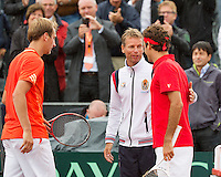 14-09-12, Netherlands, Amsterdam, Tennis, Daviscup Netherlands-Swiss,  Thiemo de Bakker(L)  captain Jan Siemerink and  Roger Federer
