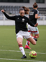 Estee Cattoor of OHL (11) shoots at the goal during the warm up before a female soccer game between Oud Heverlee Leuven and Femina White Star Woluwe  on the 5 th matchday of the 2020 - 2021 season of Belgian Womens Super League , Sunday 18 th of October 2020  in Heverlee , Belgium . PHOTO SPORTPIX.BE | SPP | SEVIL OKTEM