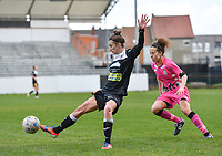 Justine Blave (22) of Eendracht Aalst pictured in front of Ines Dhaou (5) of Sporting Charleroi during a female soccer game between Eendracht Aalst and Sporting Charleroi on the 18 th and last matchday before the play offs of the 2020 - 2021 season of Belgian Scooore Womens Super League , Saturday 27 th of March 2021  in Aalst , Belgium . PHOTO SPORTPIX.BE | SPP | DAVID CATRY