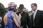 Horse Racing - Leopardstown Racecourse - Matron Stakes.The Aidan O'Brien trained Lillie Langtry with Johnny Murtagh aboard discuss the race with owner John Magnier and his son after winning the The Coolmore Fusaichi Pegasus Matron Stakes at Leopardstown Racecourse in Dublin.