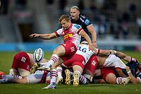 4th June 2021; AJ Bell Stadium, Salford, Lancashire, England; English Premiership Rugby, Sale Sharks versus Harlequins; Scott Steele of Harlequins clears the ball