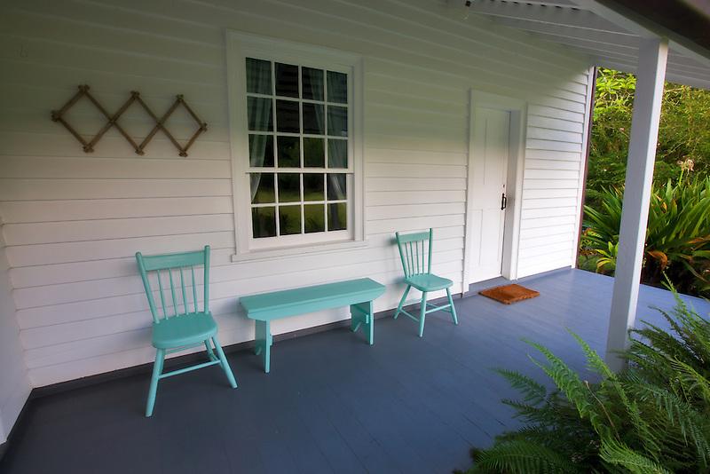 Porch of Waioli Mission House. Hanalei, Kauai, Hawaii.