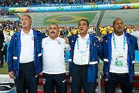 (L-R)Brazil head coach Luiz Felipe Scolari and his assistant Flavio Murtosa along with Fitness coach Carlos Alberto Parreira and Technical Coordinator Paulo Paixao