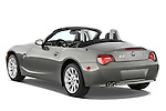 Rear three quarter view of a 2008 BMW Z4 Roadster with the top down