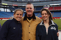 USA defender (4) Cat Whitehill poses with fans after the game. The USA Women's National Team defeated Mexico 5-0 in an international friendly at Gillette Stadium, Foxbourgh, MA, on April 14, 2007.