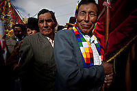 ©PATRICIO CROOKER.Aymara men and women during the parade to celebrate the day of El Alto.Just 25 years ago it was a small group of houses around La Paz  airport, at an altitude of 12,000 feet. Now El Alto city  has  nearly one million people, surpassing even the capital of Bolivia, and it is the city of Latin America that grew faster .<br /> 	It is also a paradigmatic city of the tubles and traumas of the country. There got refugee thousands of miners that lost  their jobs in 90 ´s after the privatization and closure of many mines. The peasants expelled by the lack of land or low prices for their production. Also many who did not want to live in regions where coca  growers and the Army  faced with violence.<br /> 	In short, anyone who did not have anything at all and was looking for a place to survive ended up in El Alto.<br /> 	.