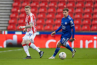 9th January 2021; Bet365 Stadium, Stoke, Staffordshire, England; English FA Cup Football, Carabao Cup, Stoke City versus Leicester City; Marc Albrighton of Leicester City passes the ball in front of Marc Albrighton of Leicester City