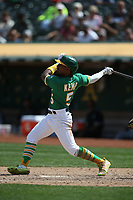 OAKLAND, CA - SEPTEMBER 9:  Tony Kemp #5 of the Oakland Athletics bats against the Chicago White Sox during the game at the Oakland Coliseum on Thursday, September 9, 2021 in Oakland, California. (Photo by Brad Mangin)