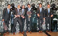 05-05-10, Zoetermeer, SilverDome, Tennis,  Davis Cup, Netherlands-Italy, Dutch team in Official clothes, l.t.r.: Jesse Huta Galung, Thiemo de Bakker,Raemon Sluiter ,Igor Sijsling,Robin Haase, and captain Jan Siemerink