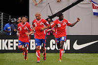 Dennis Marshall (20) of Costa Rica celebrates scoring during a quarterfinal match of the 2011 CONCACAF Gold Cup at the New Meadowlands Stadium in East Rutherford, NJ, on June 18, 2011.