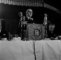 Le maire de Montreal Jean Drapeau lors d'un discours a Quebec, en decembre 1962.<br /> (date exacte inconnue)<br /> <br /> PHOTO : Agence Quebec Presse<br /> - Photo Moderne