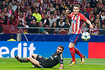 Atletico de Madrid Kevin Gameiro and Qarabag Reshad Sadigov during UEFA Champions League match between FK Qarabag and Atletico de Madrid at Wanda Metropolitano in Madrid, Spain. October 31, 2017. (ALTERPHOTOS/Borja B.Hojas)