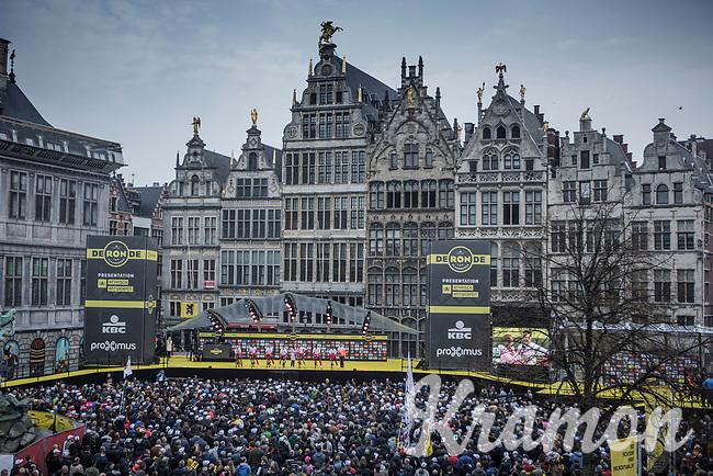 Team Cofidis pre race team presentation on the spectacular start podium in the center square of the race start town of Antwerp<br /> <br /> 103rd Ronde van Vlaanderen 2019<br /> One day race from Antwerp to Oudenaarde (BEL/270km)<br /> <br /> ©kramon