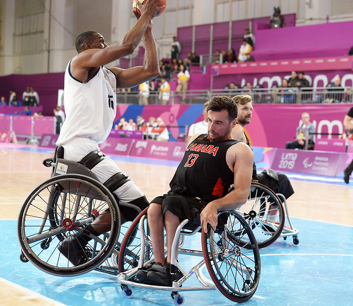 Johnathan Vermette, Lima 2019 - Wheelchair Basketball // Basketball en fauteuil roulant.<br /> Men's wheelchair basketball competes against Columbia // Le basketball en fauteuil roulant masculin contre Colombie. 25/08/2019.