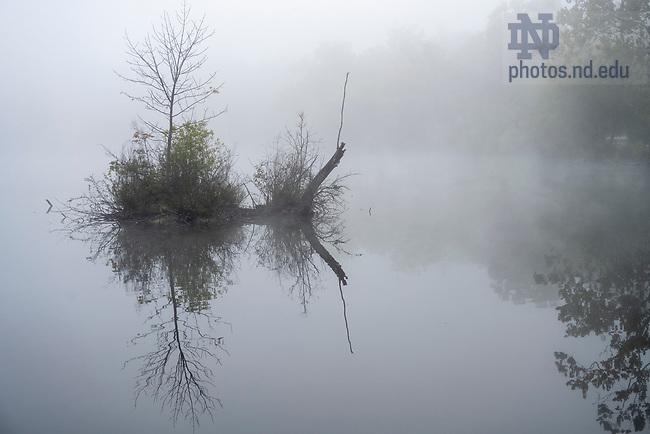 October 13, 2021; Heavy morning fog moves over St. Mary's Lake. (Photo by Barbara Johnston/University of Notre Dame)